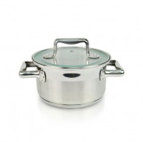 HETCH S/S Practical System 16cm Casserole With Tempered Glass Lid