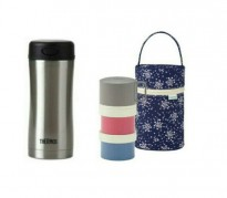 Thermos - Stylish Tumbler (CGY) 400ml (Silver)  + 0.5L Hygienic Food Container