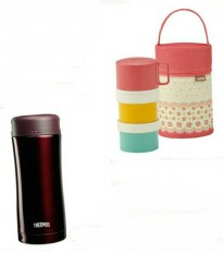 Thermos - Stylish Tumbler (BW) 400ml (Brown) + 0.5L Hygienic Food Container