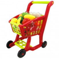 Kids & Toddlers Pretend Play Shopping Cart with Groceries, Red