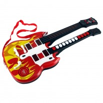 Double Neck Flaming Rock 'n Roll Children's Guitar Toy w/ Lights, Red