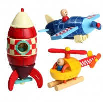 Children Wooden Removable Magnet Aircraft Toys For Kids -BKM35