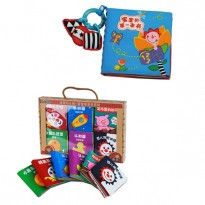 6 Mini Cloth Books Cum Cloth Book - Baby's First Book 0-3 years old -BKM02+BKM06