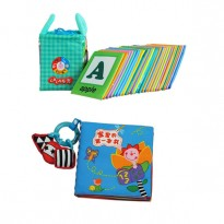 Cloth Alphabet Learning Card 0-3 years old Cum Cloth Book - Baby's First Book 0-3 years old -BKM01+BKM06