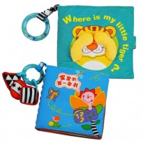Cloth Book - Where Is My Little Tiger Cum Cloth Book - Baby's First Book 0-3 years old -BT02+BKM06