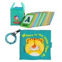 Cloth Book - Where Is My Little Tiger Cum Cloth Alphabet Learning Card 0-3 years old -BT02 +BKM01