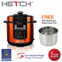 HETCH Smart Pressure Cooker 1000W 6L Capacity Touch Sensor Control (FREE Extra 1 pc of Stainless Steel 304 Inner Pot)